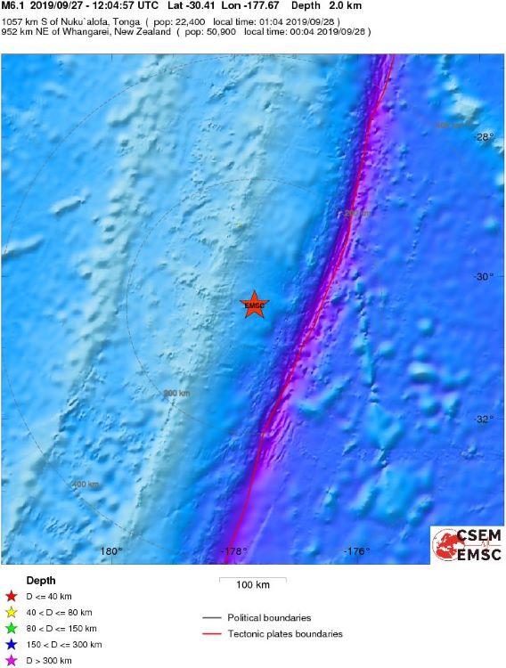 Terremoto de 6 grados en las islas Kermadec