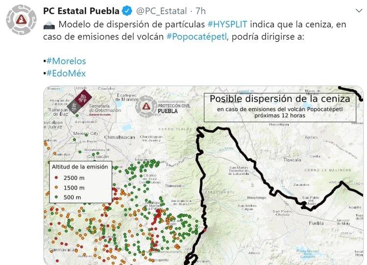 Nueva erupción del Volcán Popocatépetl