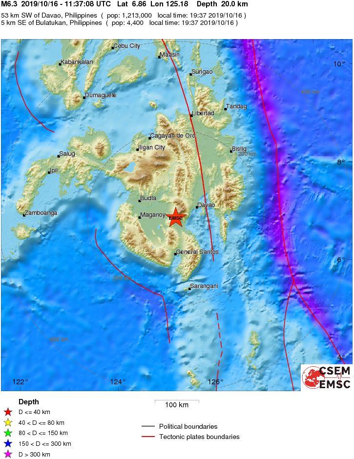 Un menor muere y docenas de personas han resultado heridas por un terremoto de 6,4 grados en Mindanao (Filipinas)