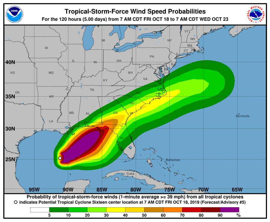 Fuerte marejada y vientos de fuerza tropical previsto en la costa del Golfo (Estados Unidos)
