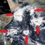 Sorprendente formación inusual de 5 sistemas tropicales al mismo tiempo