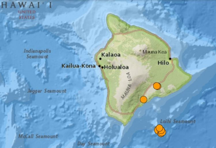 Enjambre sísmico en el volcán submarino Loihi, en Hawái