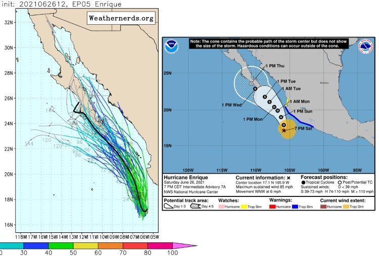 El huracán Enrique, primer huracán de la temporada, avanza afectando a México