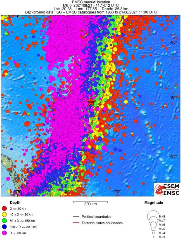 Terremotos registrados en el mundo desde el 16 al 30 de junio de 2021, superiores a 5,5 grados