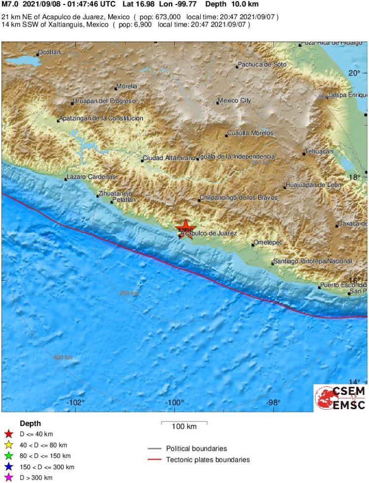 Potente terremoto de 7,1 grados sacude Acapulco, en Guerrero (México) ** Calificación preliminar: 7,4 grados **