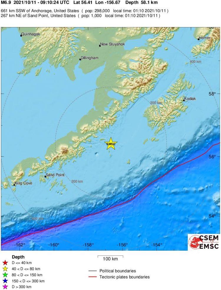 Registrado terremoto de 6.9 en la Península de Alaska